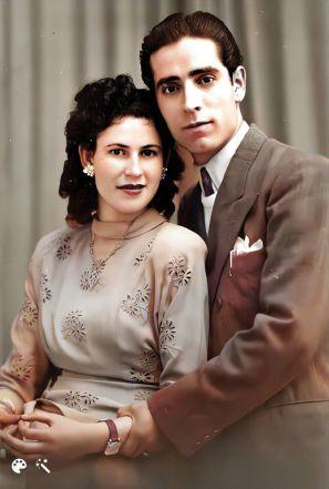 הוריי, אהרון ומרים בן הרוש, בשנת 1950 באירוסיהם
